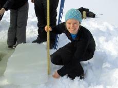 Cutting lake ice