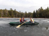 Breaking ice on Little Donahue Lake