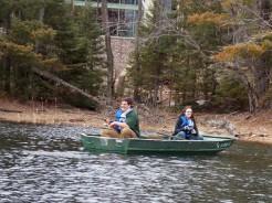 Matt & Sarah fishing behind the Lowenstine Academic Building