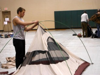 Nick checking in his tent after solos