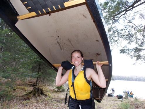 Lauren showing how to portage