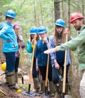 Michael explaining the nuances of sustainable trail construction