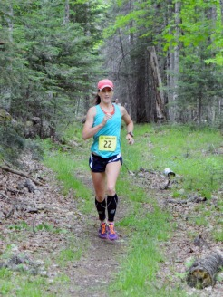 The eventual winner of the women's 20k enjoying the single track near Big Donahue Lake