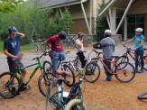 Preparing to bike to the logging site