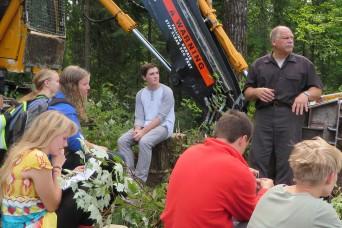 Logger Ken addresses the students