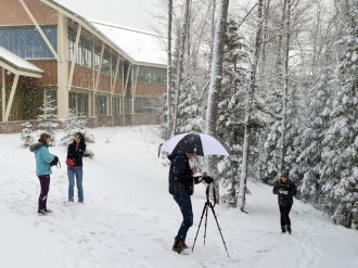 Nature Photography students enjoying the snowy background