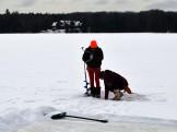 Sarah & Morgan checking ice thickness