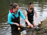 Cecilia and Lauren at the fish hatchery