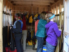 In the paddle shed