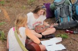 Emma on the guitar and Grace on the uke