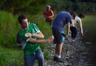 Lucas skipping stones