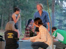 Catherine, Emma, Sal, and Nancy around the fire