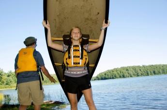 Kerrie preparing to portage a canoe