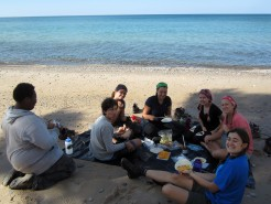 Donald, Sam, Regina, Satya, Gracie, Kerri, and Donelle enjoying lunch along Lake Superior