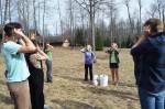 """Students practicing """"Deer Ears"""""""