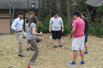 Seth, Ethan, Nick, Andre, ZhenHua, and Donelle practicing their hacky-sack skills